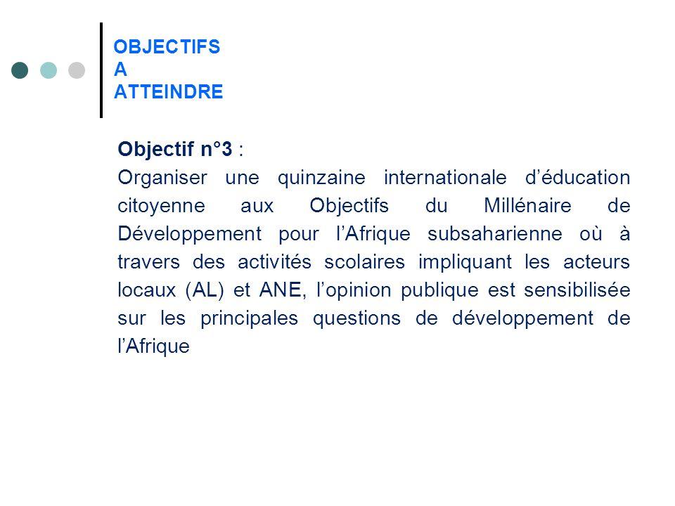 OBJECTIFS A ATTEINDRE Objectif n°3 : Organiser une quinzaine internationale déducation citoyenne aux Objectifs du Millénaire de Développement pour lAfrique subsaharienne où à travers des activités scolaires impliquant les acteurs locaux (AL) et ANE, lopinion publique est sensibilisée sur les principales questions de développement de lAfrique