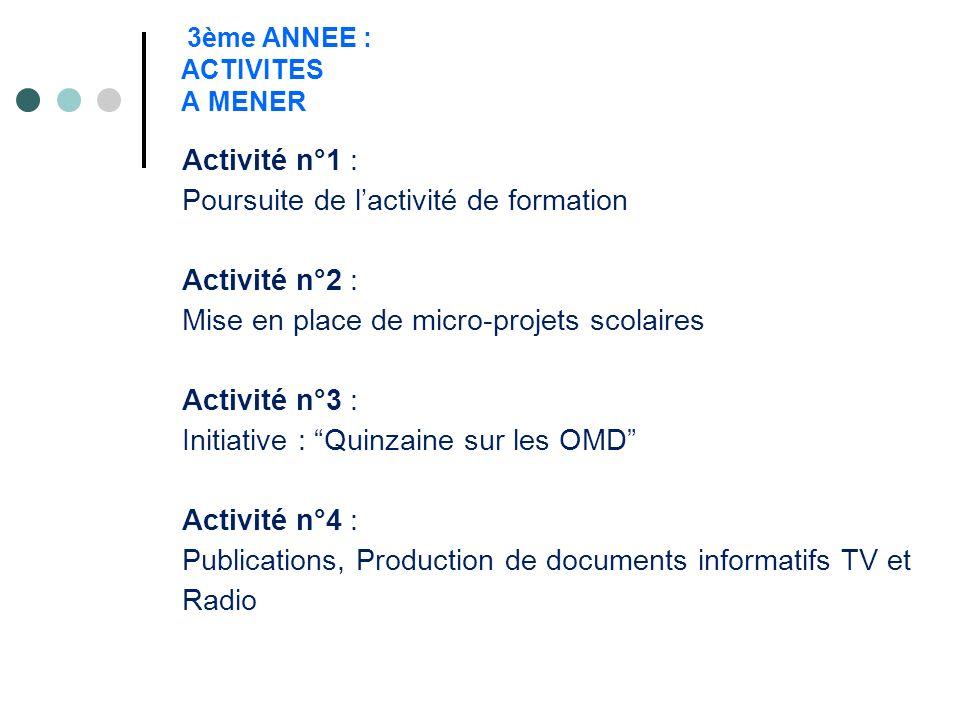 3ème ANNEE : ACTIVITES A MENER Activité n°1 : Poursuite de lactivité de formation Activité n°2 : Mise en place de micro-projets scolaires Activité n°3
