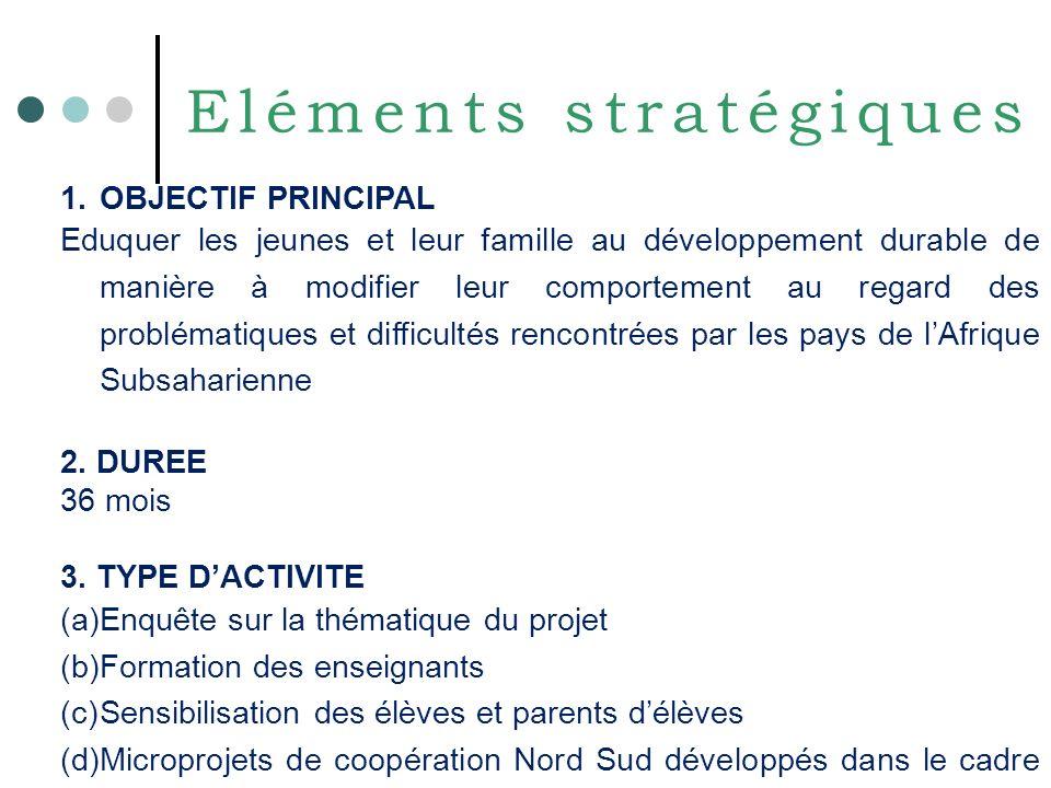 Eléments stratégiques 1.OBJECTIF PRINCIPAL Eduquer les jeunes et leur famille au développement durable de manière à modifier leur comportement au regard des problématiques et difficultés rencontrées par les pays de lAfrique Subsaharienne 2.