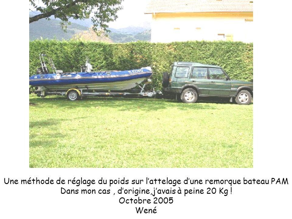 Une méthode de réglage du poids sur lattelage dune remorque bateau PAM Dans mon cas, dorigine,javais à peine 20 Kg ! Octobre 2005 Wené