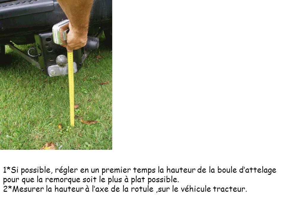 1*Si possible, régler en un premier temps la hauteur de la boule dattelage pour que la remorque soit le plus à plat possible. 2*Mesurer la hauteur à l