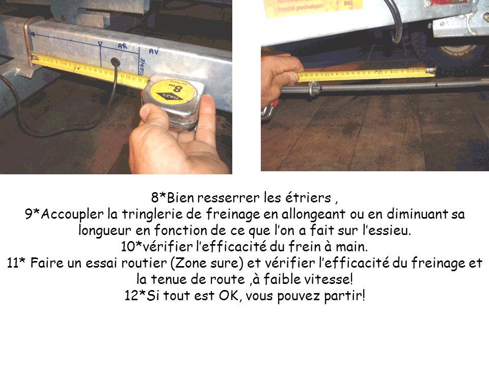 8*Bien resserrer les étriers, 9*Accoupler la tringlerie de freinage en allongeant ou en diminuant sa longueur en fonction de ce que lon a fait sur les