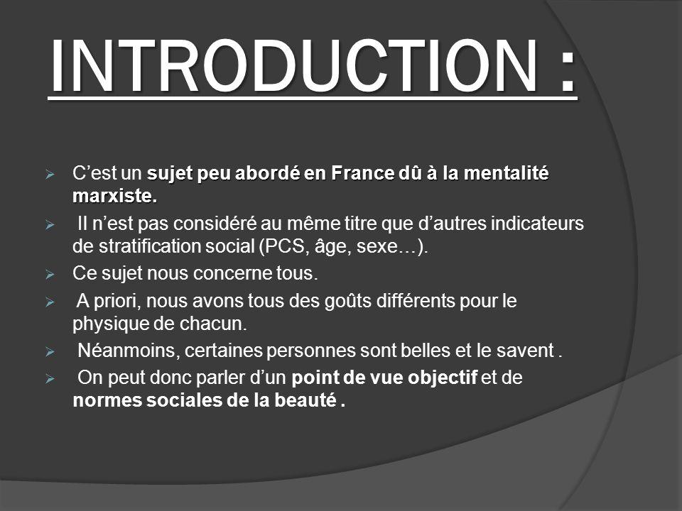 INTRODUCTION : sujet peu abordé en France dû à la mentalité marxiste. Cest un sujet peu abordé en France dû à la mentalité marxiste. Il nest pas consi