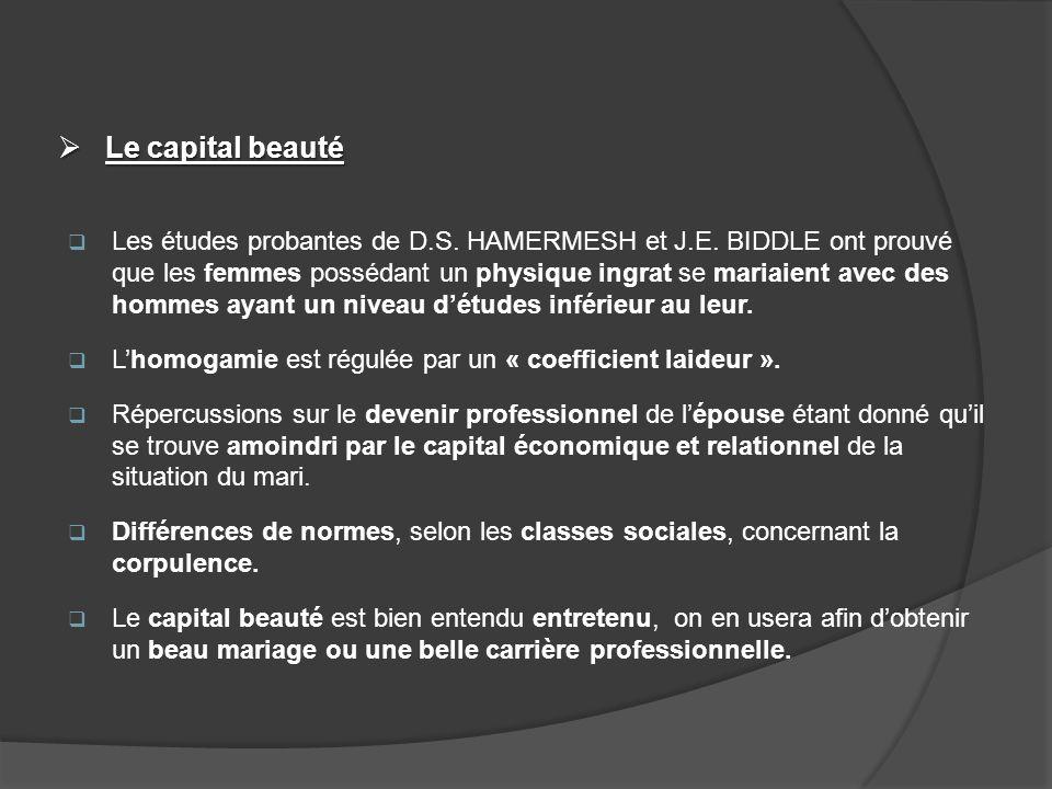 Le capital beauté Le capital beauté Les études probantes de D.S. HAMERMESH et J.E. BIDDLE ont prouvé que les femmes possédant un physique ingrat se ma