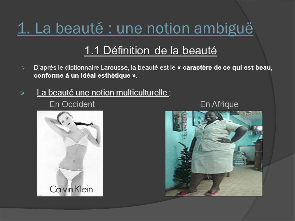 1. La beauté : une notion ambiguë 1.1 Définition de la beauté Daprès le dictionnaire Larousse, la beauté est le « caractère de ce qui est beau, confor
