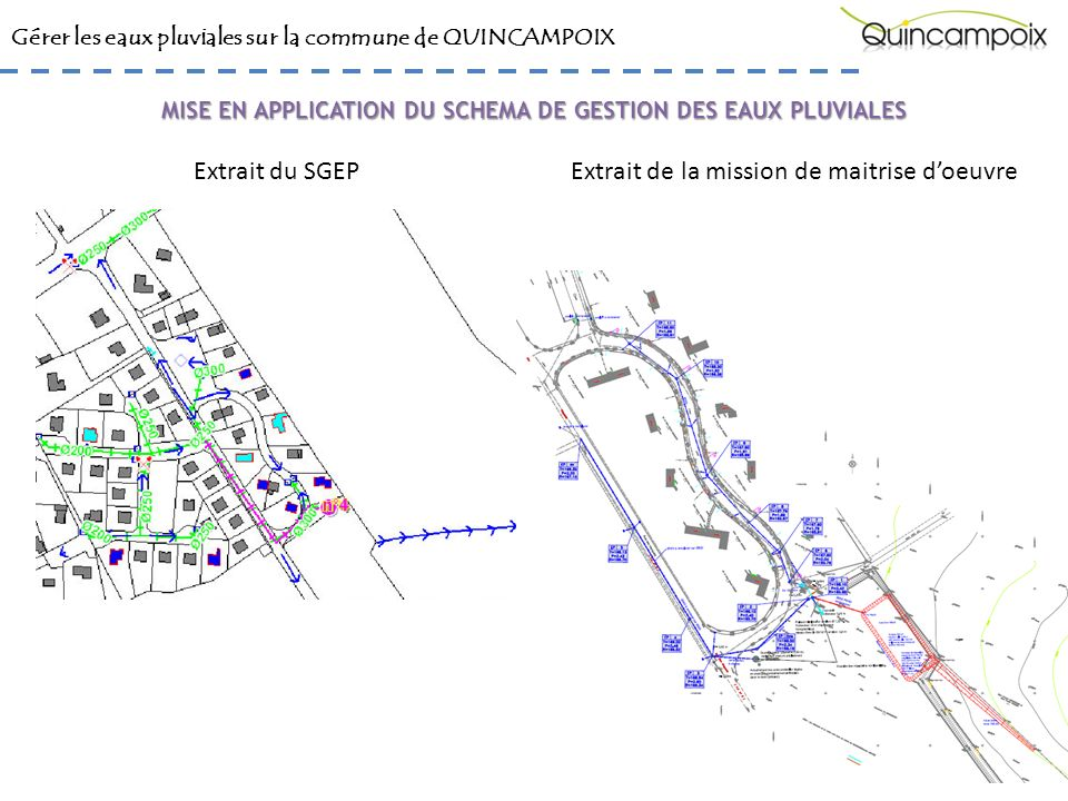 Gérer les eaux pluviales sur la commune de QUINCAMPOIX Extrait du SGEPExtrait de la mission de maitrise doeuvre MISE EN APPLICATION DU SCHEMA DE GESTION DES EAUX PLUVIALES