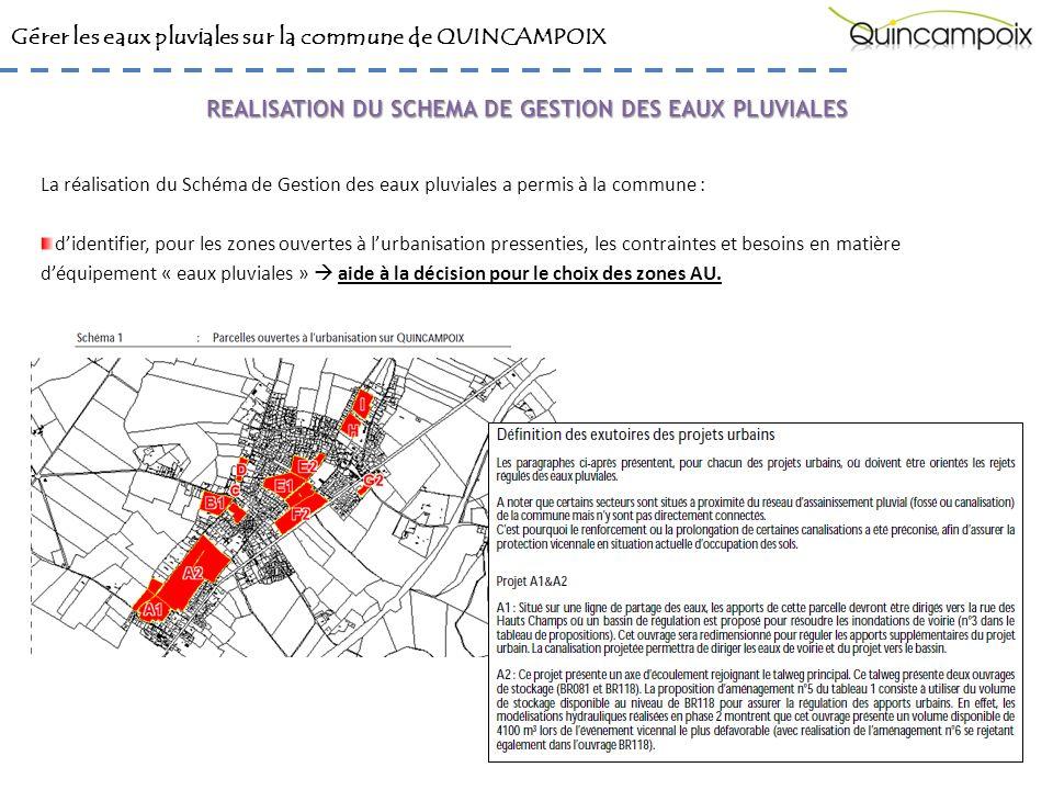 Gérer les eaux pluviales sur la commune de QUINCAMPOIX La réalisation du Schéma de Gestion des eaux pluviales a permis à la commune : daffiner la largeur des axes de ruissellements et leur positionnement sur fond de plan cadastral.