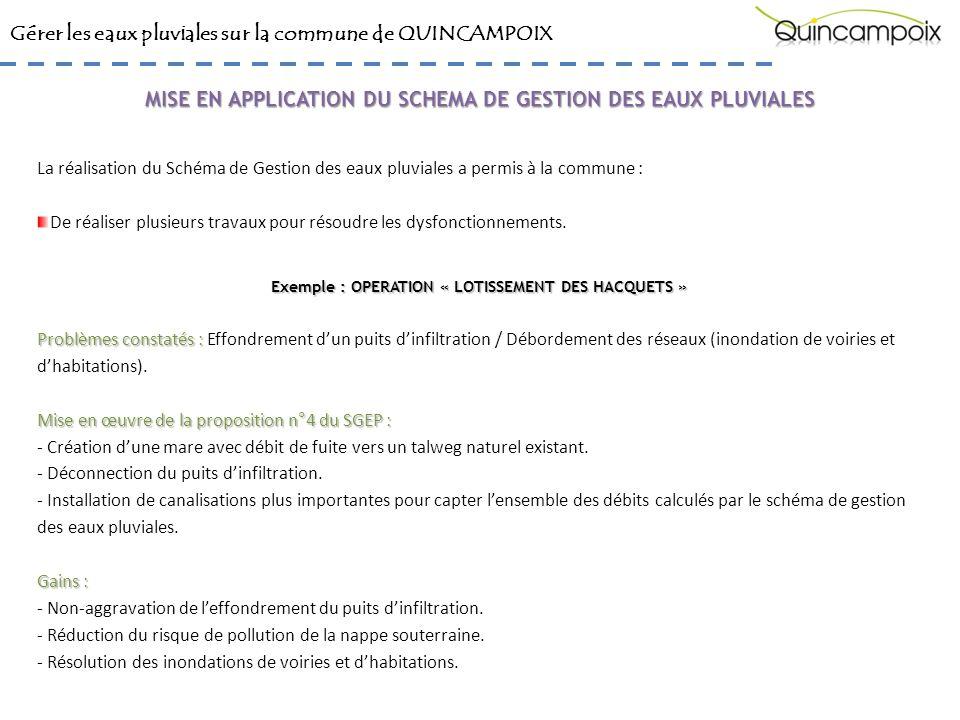 Gérer les eaux pluviales sur la commune de QUINCAMPOIX La réalisation du Schéma de Gestion des eaux pluviales a permis à la commune : De réaliser plusieurs travaux pour résoudre les dysfonctionnements.