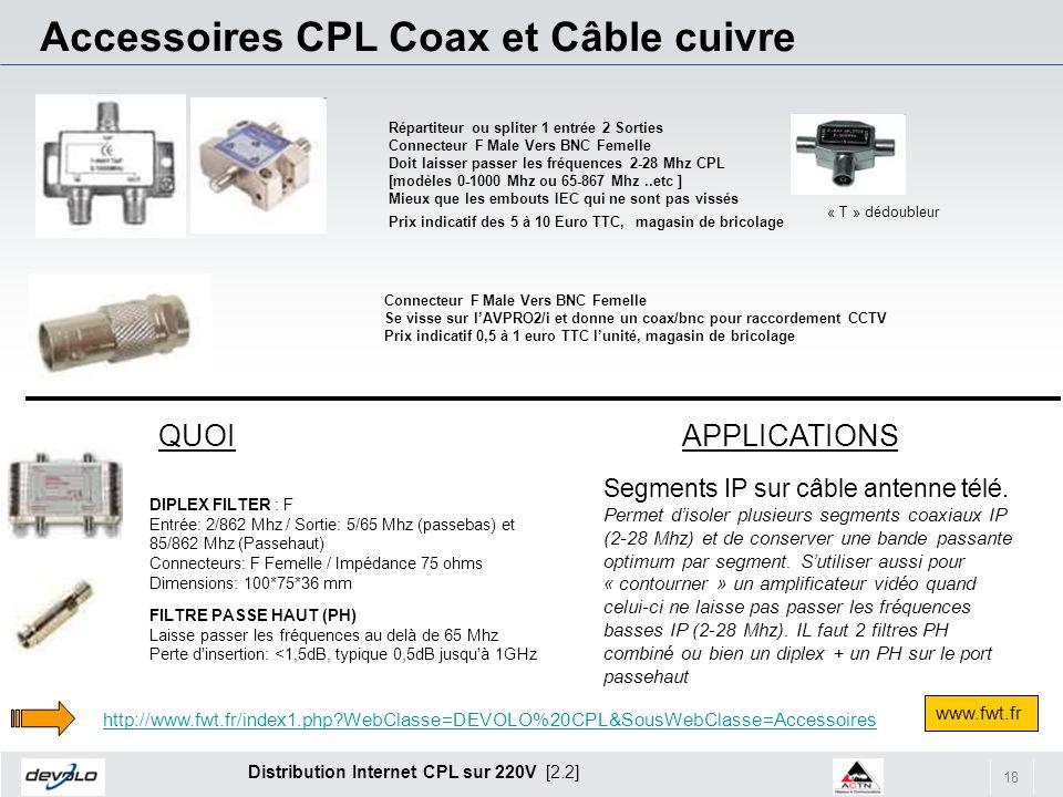 18 Distribution Internet CPL sur 220V [2.2] Connecteur F Male Vers BNC Femelle Se visse sur lAVPRO2/i et donne un coax/bnc pour raccordement CCTV Prix