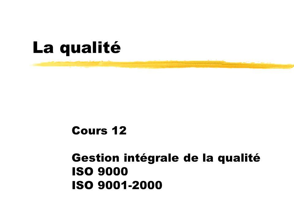 Plan du cours 12 zSystème de gestion de la qualité zSGQ et « meilleures pratiques » zÉléments d un SGQ zRaison d être du SGQ zSGQ et ISO zRévision ISO 9000:2000 Principes de management de la qualité zExigences ISO 9000 zSystème de management de qualité zProcédures documentées requises