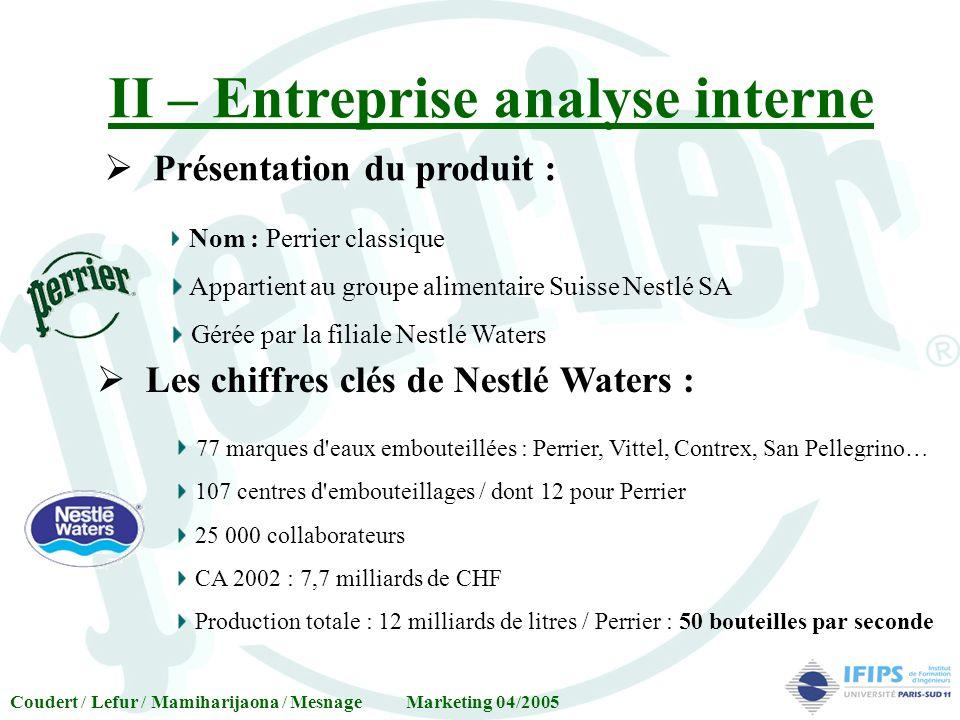 II – Entreprise analyse interne Présentation du produit : Nom : Perrier classique Appartient au groupe alimentaire Suisse Nestlé SA Gérée par la filia