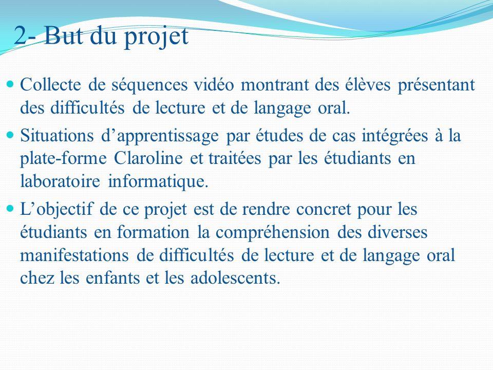 2- But du projet Collecte de séquences vidéo montrant des élèves présentant des difficultés de lecture et de langage oral.