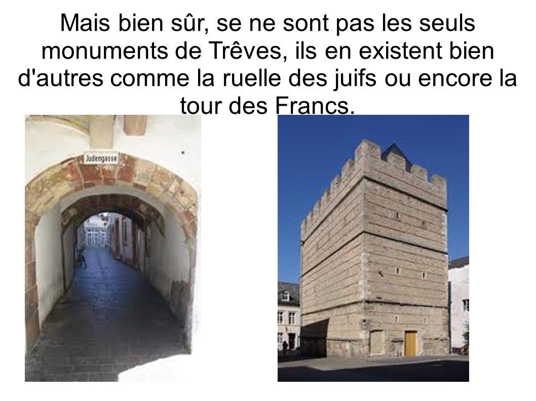 Mais bien sûr, se ne sont pas les seuls monuments de Trêves, ils en existent bien d'autres comme la ruelle des juifs ou encore la tour des Francs.