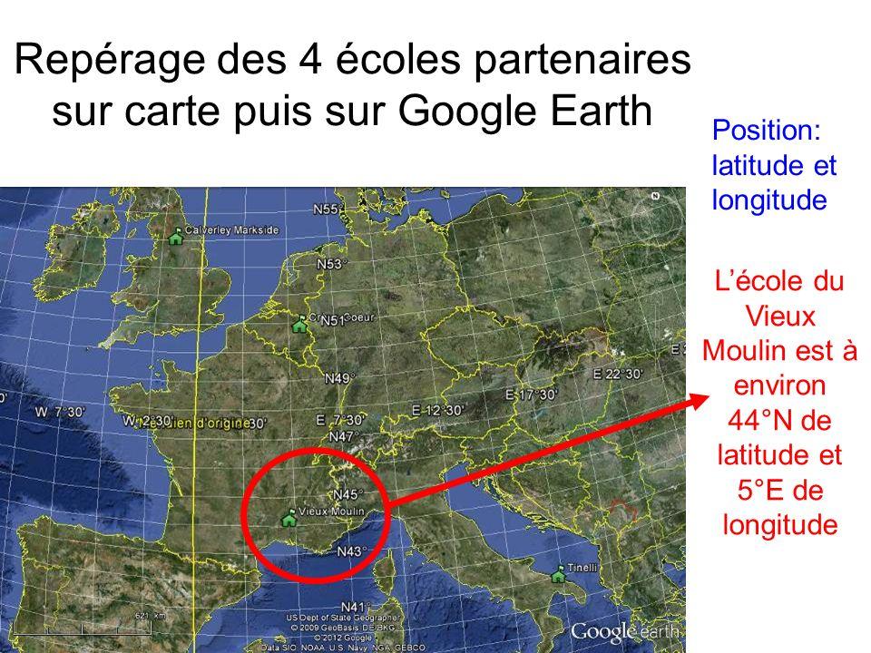 Repérage des 4 écoles partenaires sur carte puis sur Google Earth Position: latitude et longitude Lécole du Vieux Moulin est à environ 44°N de latitude et 5°E de longitude