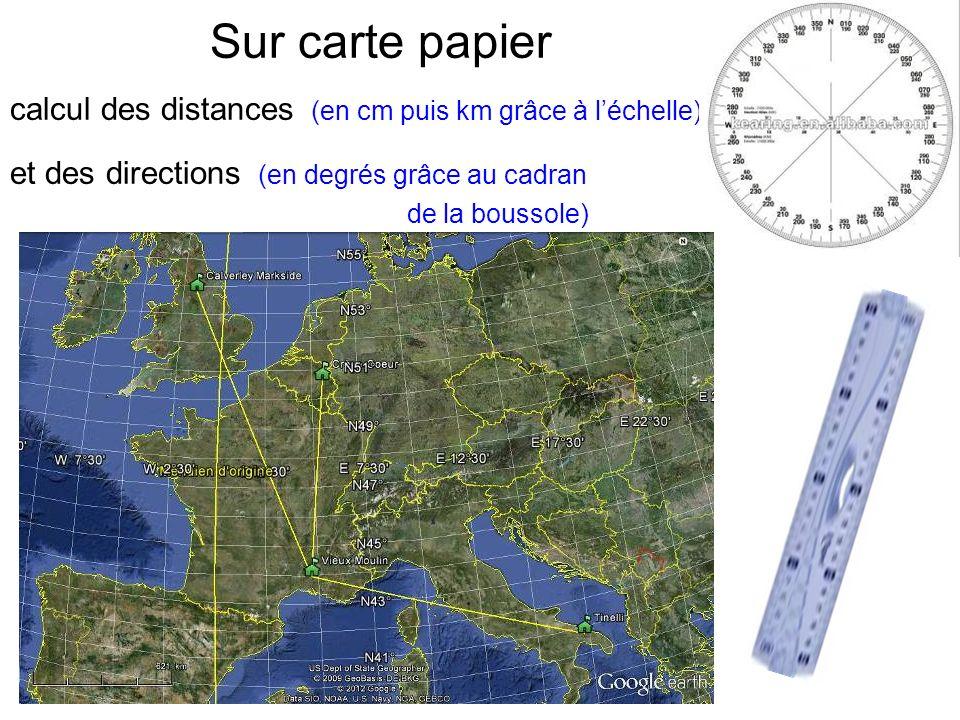 Sur carte papier calcul des distances (en cm puis km grâce à léchelle) et des directions (en degrés grâce au cadran de la boussole)