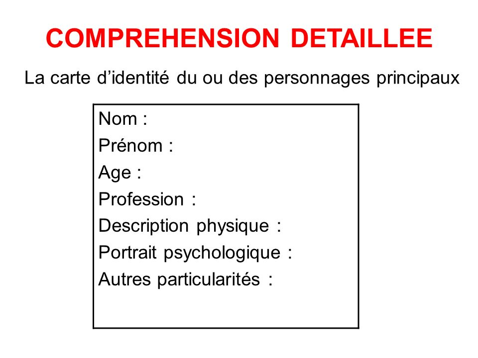 La carte didentité du ou des personnages principaux Nom : Prénom : Age : Profession : Description physique : Portrait psychologique : Autres particularités : COMPREHENSION DETAILLEE