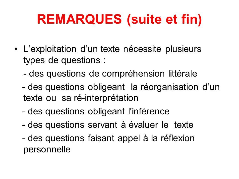 Lexploitation dun texte nécessite plusieurs types de questions : - des questions de compréhension littérale - des questions obligeant la réorganisation dun texte ou sa ré-interprétation - des questions obligeant linférence - des questions servant à évaluer le texte - des questions faisant appel à la réflexion personnelle REMARQUES (suite et fin)