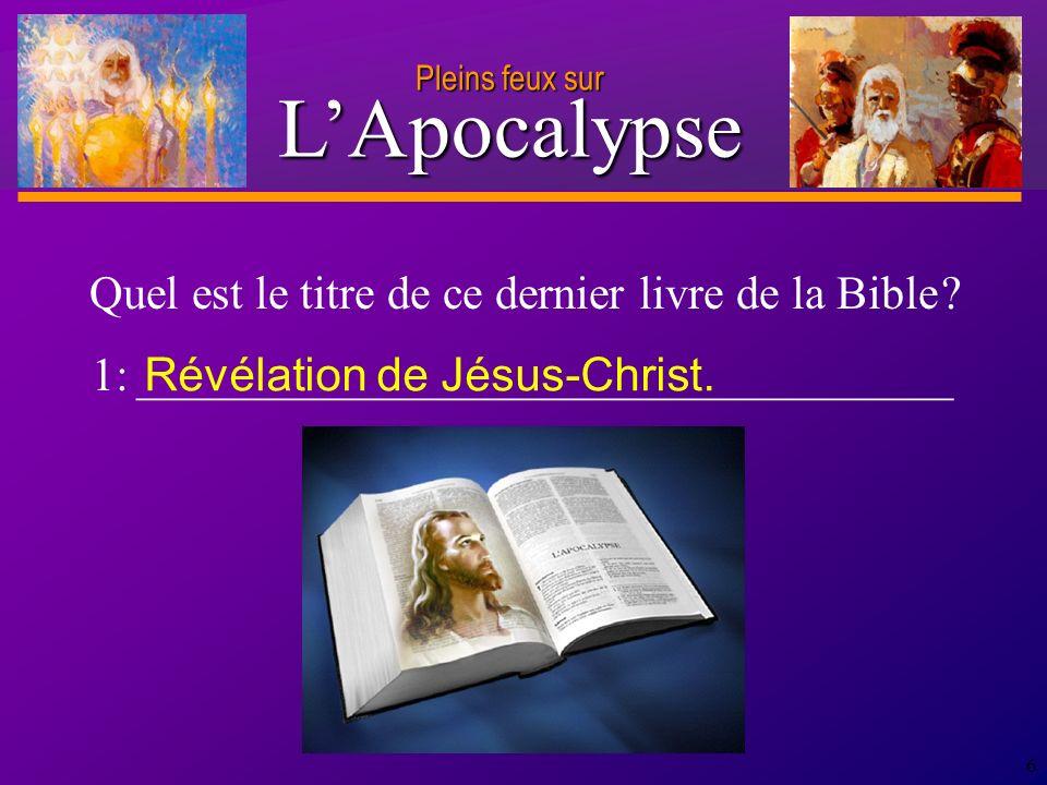 D anie l Pleins feux sur 27 Au verset 11, Jean reçoit l ordre d envoyer les messages divins, qu il s apprête à recevoir en ce jour du Seigneur, aux sept Églises d Asie.