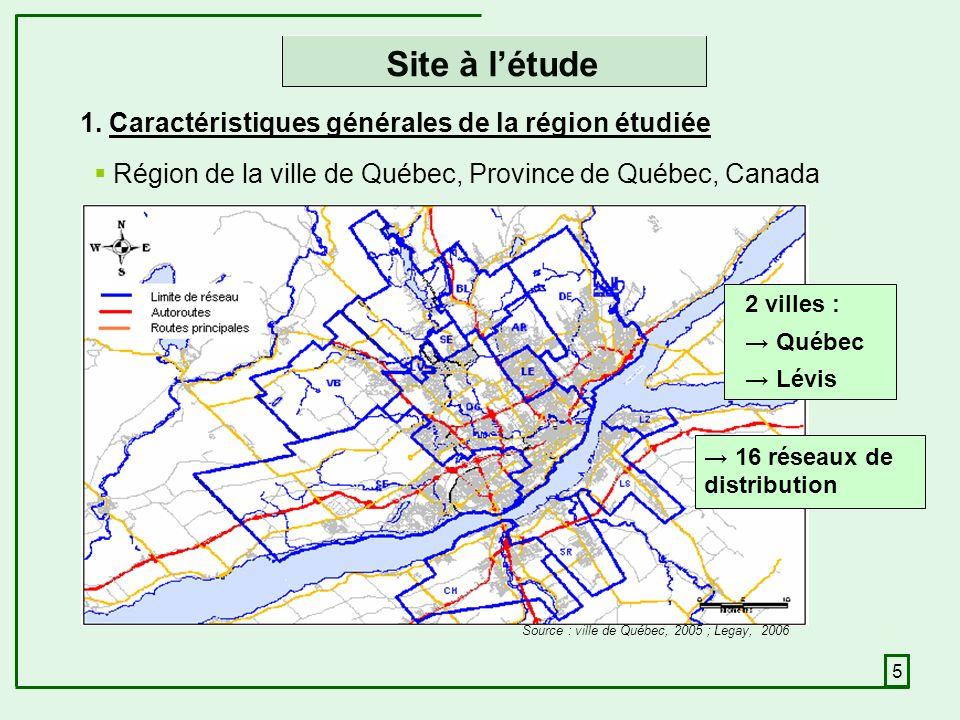 5 Site à létude Région de la ville de Québec, Province de Québec, Canada Source : ville de Québec, 2005 ; Legay, 2006 2 villes : Québec Lévis 16 réseaux de distribution 1.