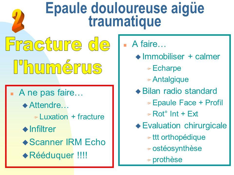 Epaule douloureuse aigüe traumatique n A faire… u Immobiliser + calmer F Echarpe F Antalgique u Bilan radio standard F Epaule Face + Profil F Rot° Int