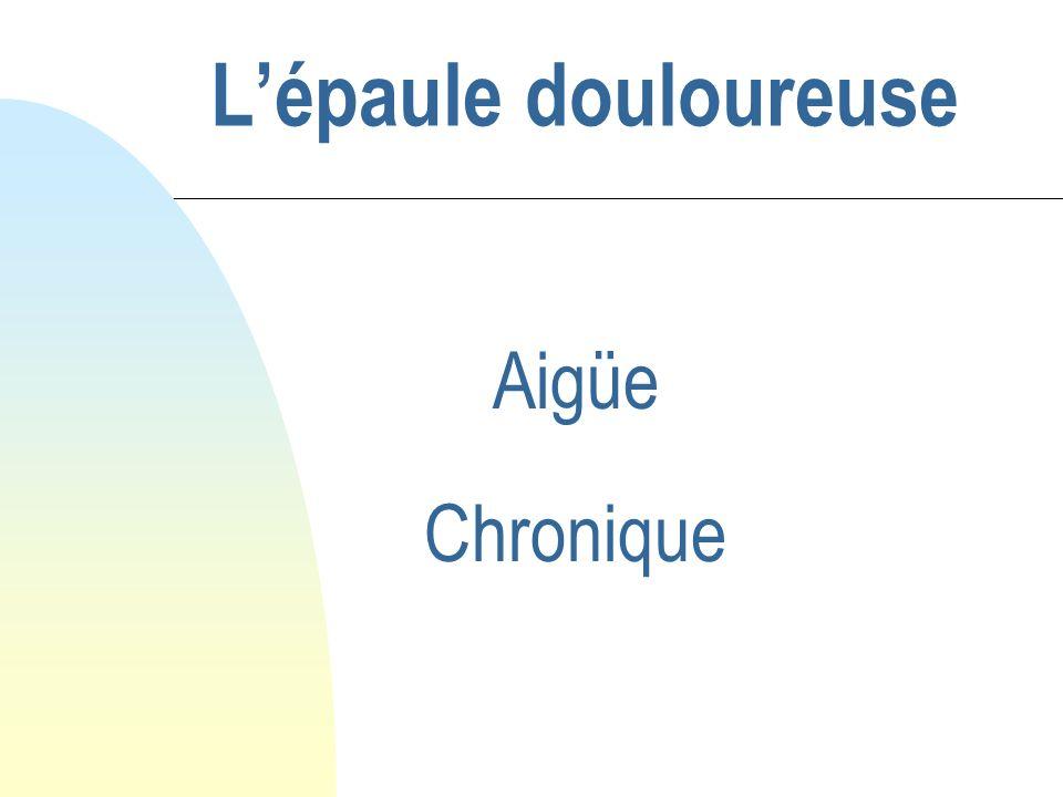 Epaule douloureuse aigüe traumatique n A faire… u Lexamen clinique suffit u Bilan radio = NORMAL u Soulager le patient F Antalgiques simples F AINS .