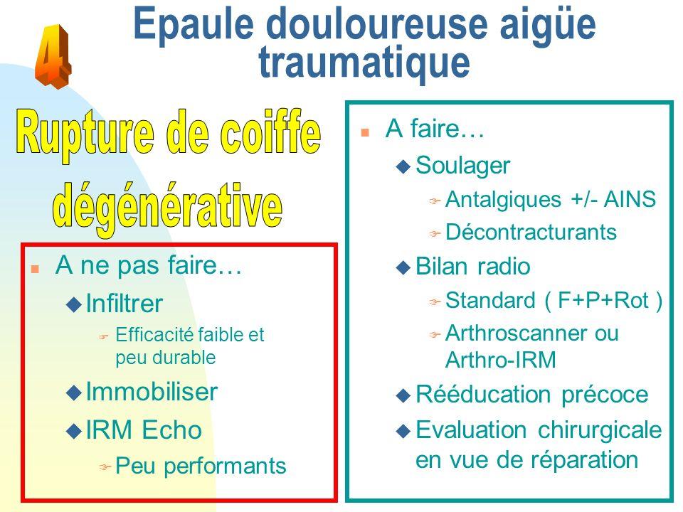 Epaule douloureuse aigüe traumatique n A faire… u Soulager F Antalgiques +/- AINS F Décontracturants u Bilan radio F Standard ( F+P+Rot ) F Arthroscan