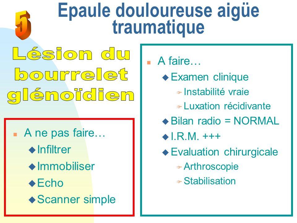 Epaule douloureuse aigüe traumatique n A faire… u Examen clinique F Instabilité vraie F Luxation récidivante u Bilan radio = NORMAL u I.R.M. +++ u Eva
