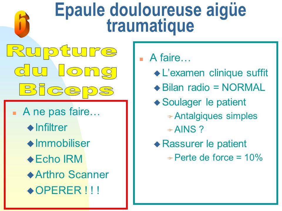 Epaule douloureuse aigüe traumatique n A faire… u Lexamen clinique suffit u Bilan radio = NORMAL u Soulager le patient F Antalgiques simples F AINS ?