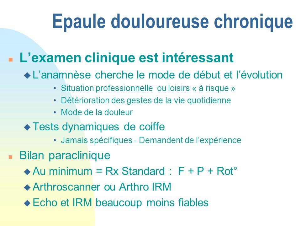 Epaule douloureuse chronique n Lexamen clinique est intéressant u Lanamnèse cherche le mode de début et lévolution Situation professionnelle ou loisir