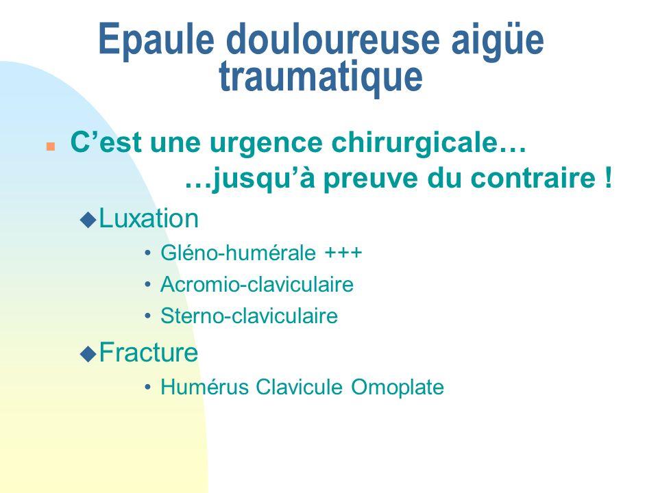 Epaule douloureuse aigüe traumatique n Cest une urgence chirurgicale… …jusquà preuve du contraire ! u Luxation Gléno-humérale +++ Acromio-claviculaire