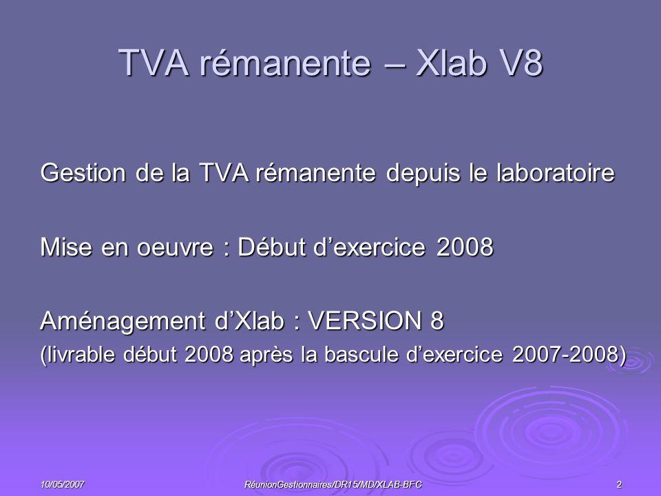 10/05/2007RéunionGestionnaires/DR15/MD/XLAB-BFC2 TVA rémanente – Xlab V8 Gestion de la TVA rémanente depuis le laboratoire Mise en oeuvre : Début dexercice 2008 Aménagement dXlab : VERSION 8 (livrable début 2008 après la bascule dexercice 2007-2008)