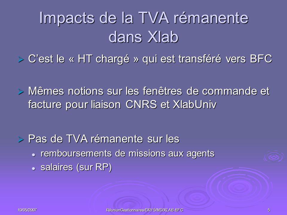 10/05/2007RéunionGestionnaires/DR15/MD/XLAB-BFC5 Impacts de la TVA rémanente dans Xlab Cest le « HT chargé » qui est transféré vers BFC Cest le « HT chargé » qui est transféré vers BFC Mêmes notions sur les fenêtres de commande et facture pour liaison CNRS et XlabUniv Mêmes notions sur les fenêtres de commande et facture pour liaison CNRS et XlabUniv Pas de TVA rémanente sur les Pas de TVA rémanente sur les remboursements de missions aux agents remboursements de missions aux agents salaires (sur RP) salaires (sur RP)