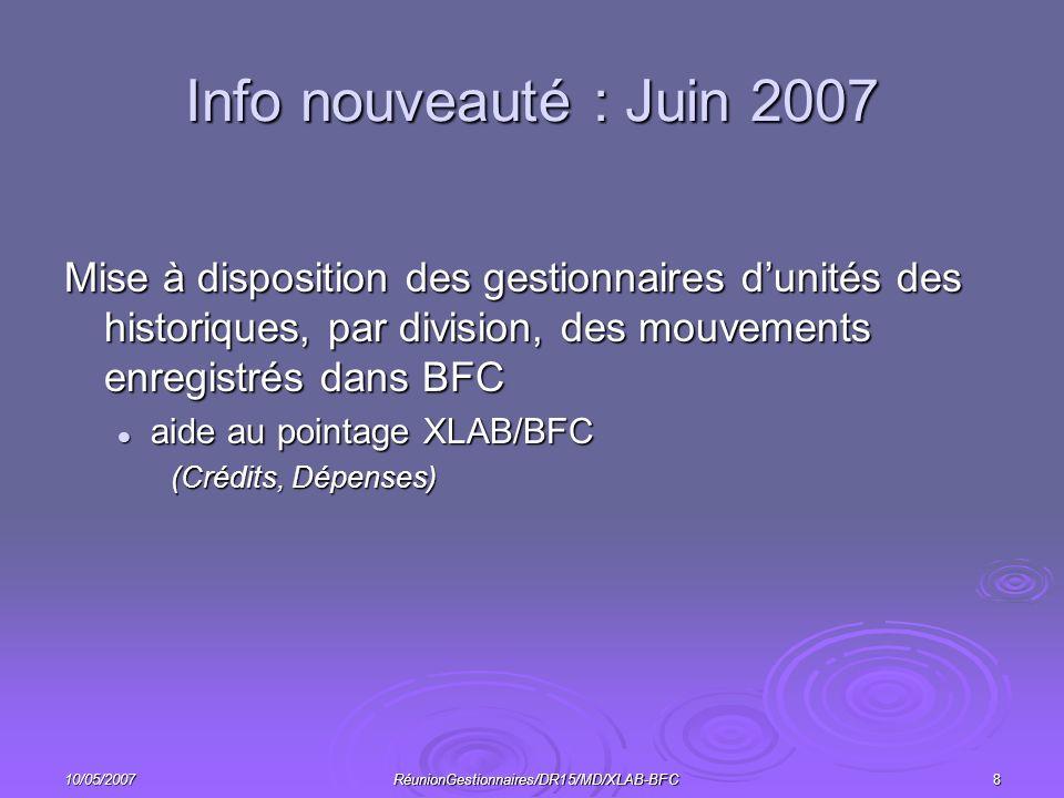 10/05/2007RéunionGestionnaires/DR15/MD/XLAB-BFC8 Info nouveauté : Juin 2007 Mise à disposition des gestionnaires dunités des historiques, par division, des mouvements enregistrés dans BFC aide au pointage XLAB/BFC aide au pointage XLAB/BFC (Crédits, Dépenses)