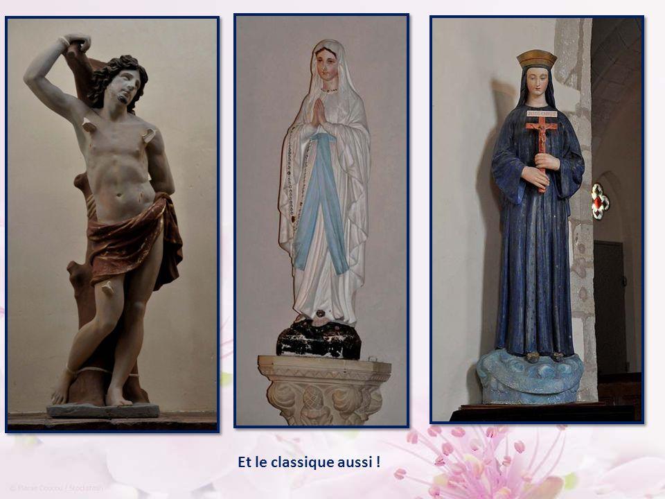 Tableau du Rosaire de 1622 : la Vierge remet le Rosaire à Saint Dominqiue et Sainte Catherine. L'art moderne est présent, avec cette statue :