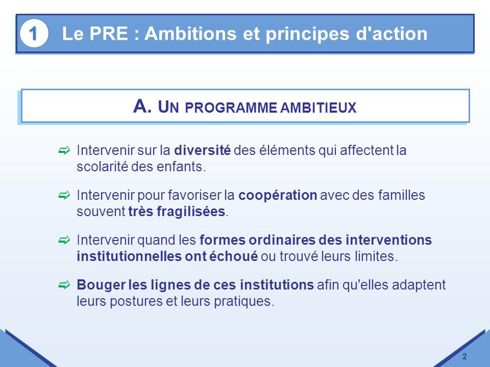 2 A. U N PROGRAMME AMBITIEUX Intervenir sur la diversité des éléments qui affectent la scolarité des enfants. Intervenir pour favoriser la coopération