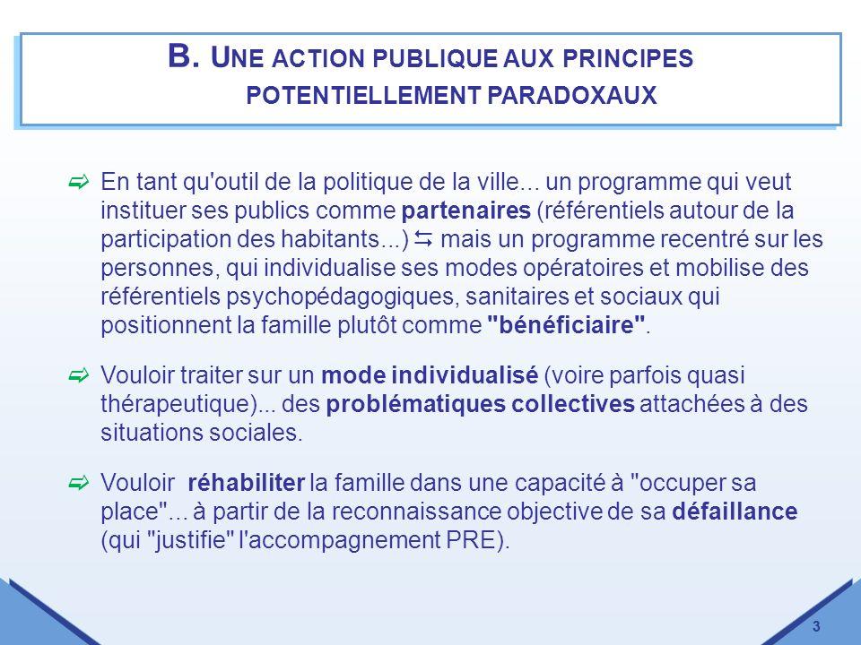 3 B. U NE ACTION PUBLIQUE AUX PRINCIPES POTENTIELLEMENT PARADOXAUX 3 En tant qu'outil de la politique de la ville... un programme qui veut instituer s