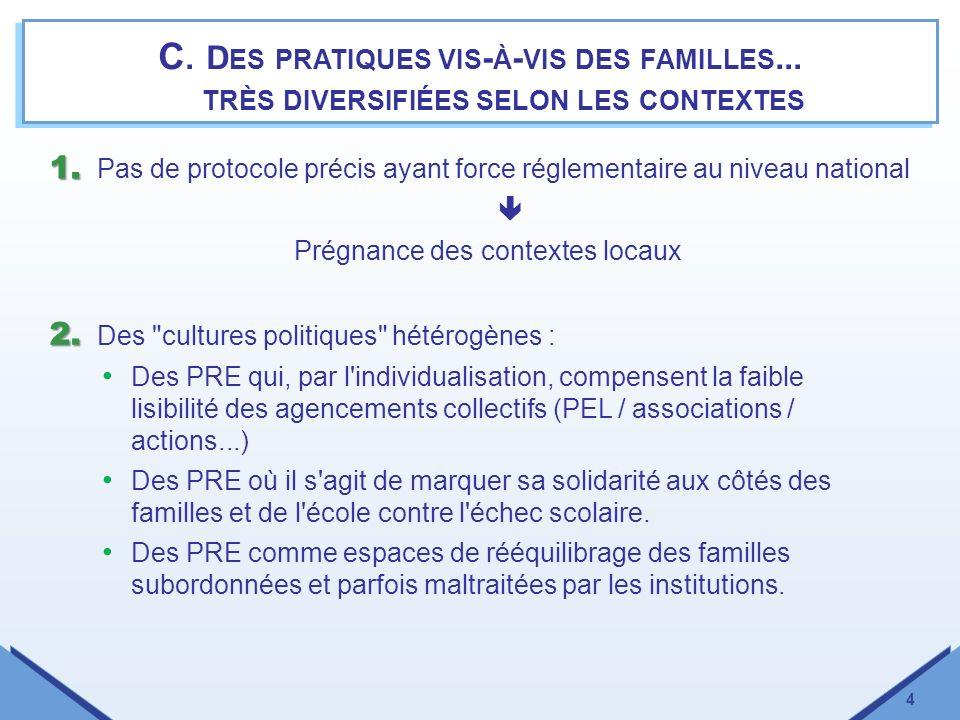 5 Des pratiques vis-à-vis des familles...très diversifiées selon les contextes 3.