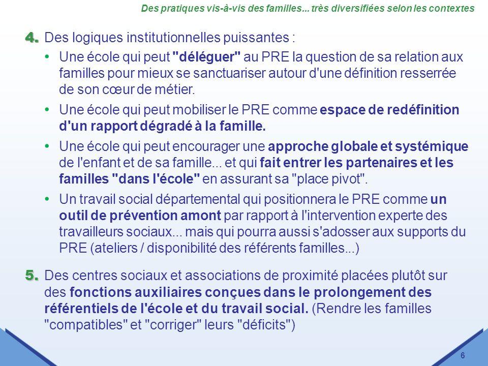 6 Des pratiques vis-à-vis des familles... très diversifiées selon les contextes 4. 4. Des logiques institutionnelles puissantes : Une école qui peut