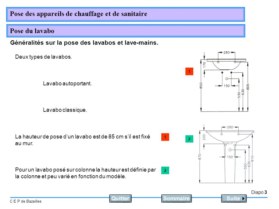 Diapo 3 C E P de Bazeilles Pose des appareils de chauffage et de sanitaire Pose du lavabo Généralités sur la pose des lavabos et lave-mains. Deux type