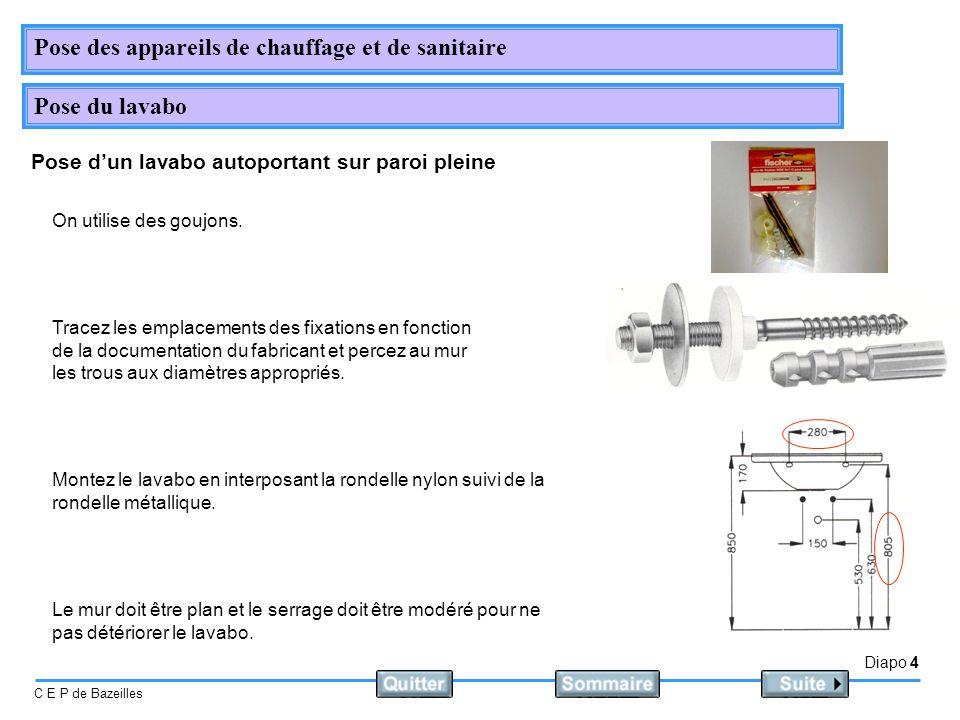 Diapo 4 C E P de Bazeilles Pose des appareils de chauffage et de sanitaire Pose du lavabo Pose dun lavabo autoportant sur paroi pleine On utilise des