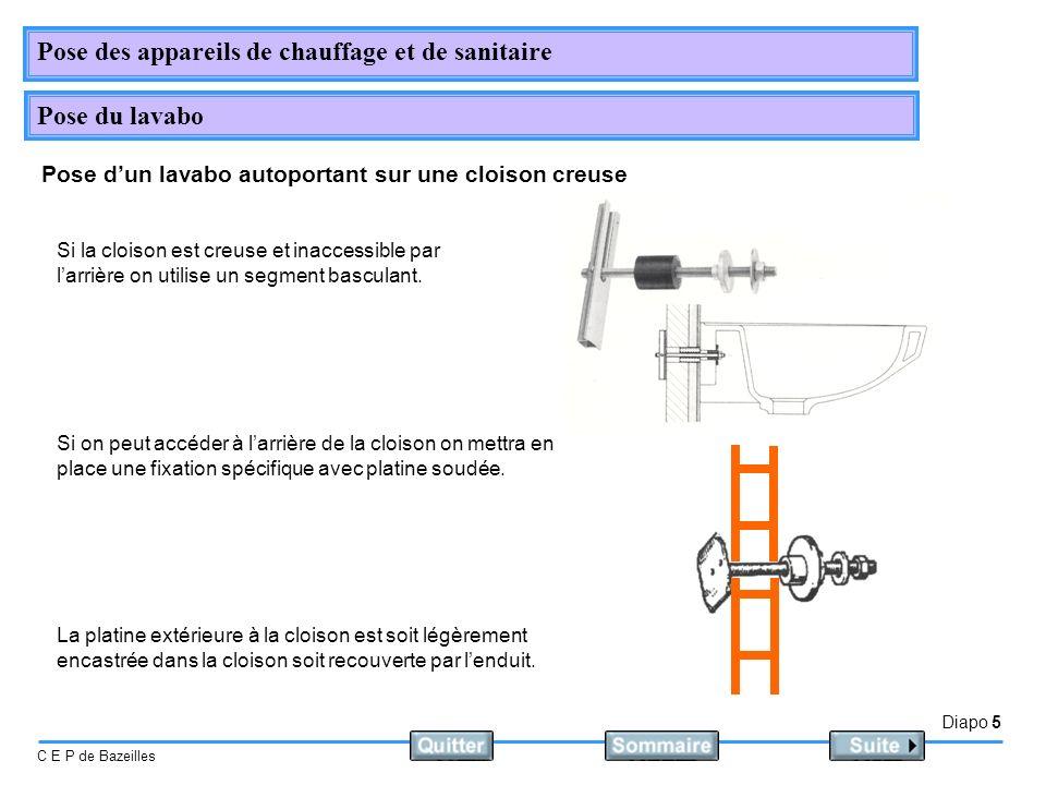 Diapo 5 C E P de Bazeilles Pose des appareils de chauffage et de sanitaire Pose du lavabo Pose dun lavabo autoportant sur une cloison creuse Si la clo