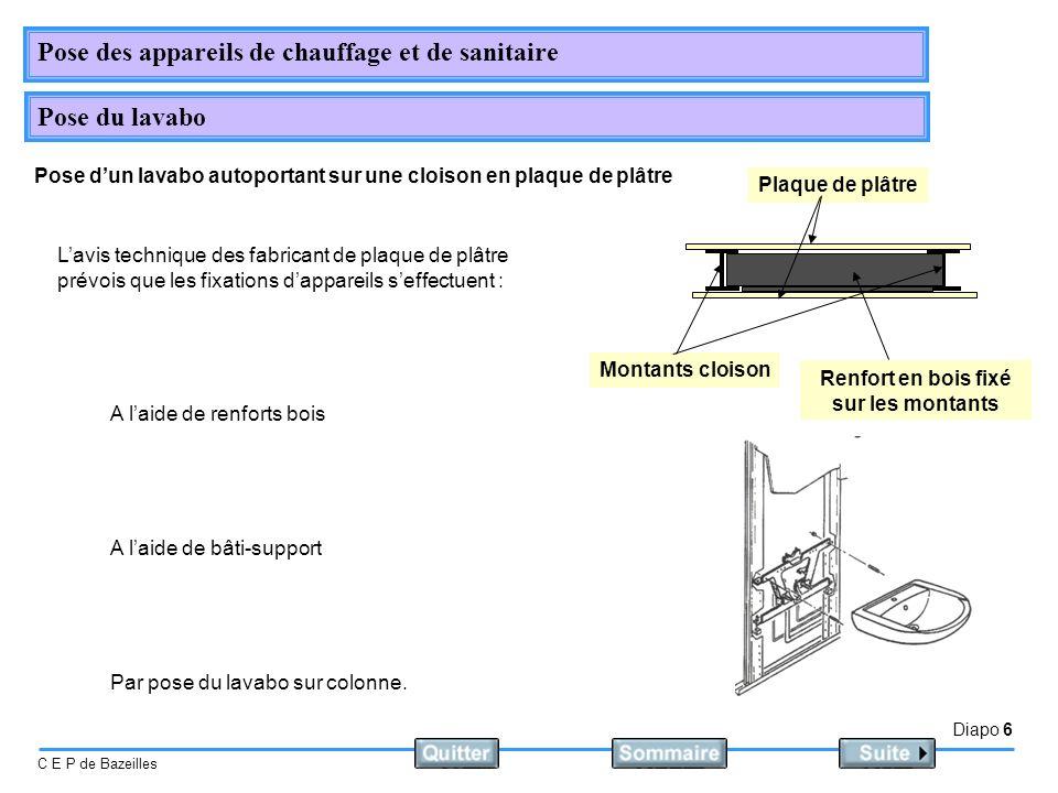Diapo 6 C E P de Bazeilles Pose des appareils de chauffage et de sanitaire Pose du lavabo Pose dun lavabo autoportant sur une cloison en plaque de plâ