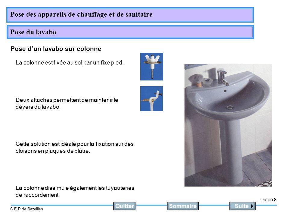 Diapo 8 C E P de Bazeilles Pose des appareils de chauffage et de sanitaire Pose du lavabo Pose dun lavabo sur colonne La colonne est fixée au sol par