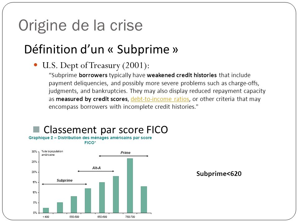 Origine de la crise U.S. Dept of Treasury (2001): Subprime borrowers typically have weakened credit histories that include payment deliquencies, and p