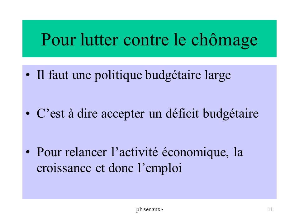 ph senaux -11 Pour lutter contre le chômage Il faut une politique budgétaire large Cest à dire accepter un déficit budgétaire Pour relancer lactivité