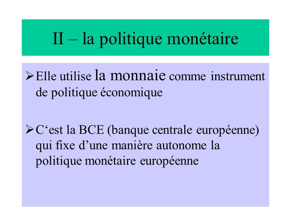 ph senaux -16 II – la politique monétaire Elle utilise la monnaie comme instrument de politique économique Cest la BCE (banque centrale européenne) qu