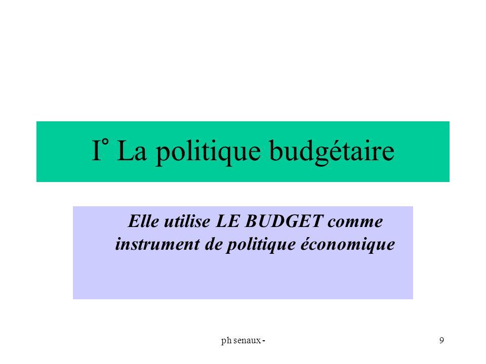 ph senaux -9 I° La politique budgétaire Elle utilise LE BUDGET comme instrument de politique économique