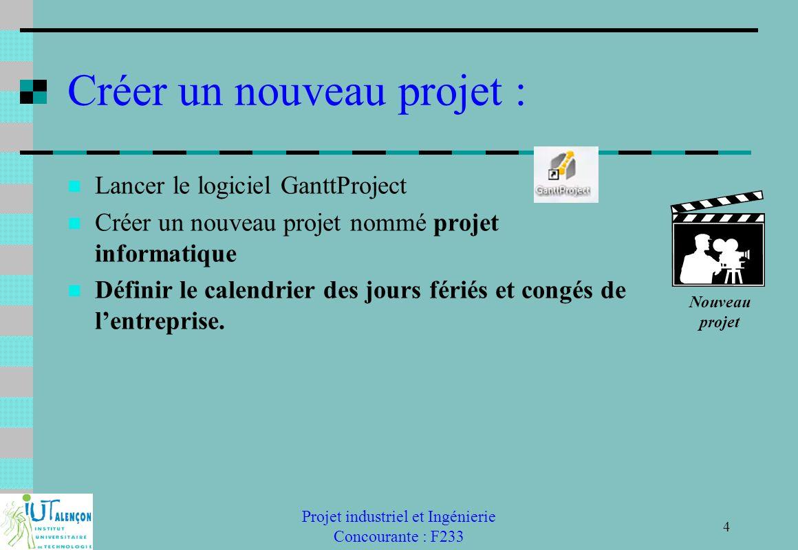 Projet industriel et Ingénierie Concourante : F233 15 Suivi du projet : Compléter pour chaque tâche un état davancement Létat davancement est défini en % Le GANTT peu t afficher des alertes pour les retards.