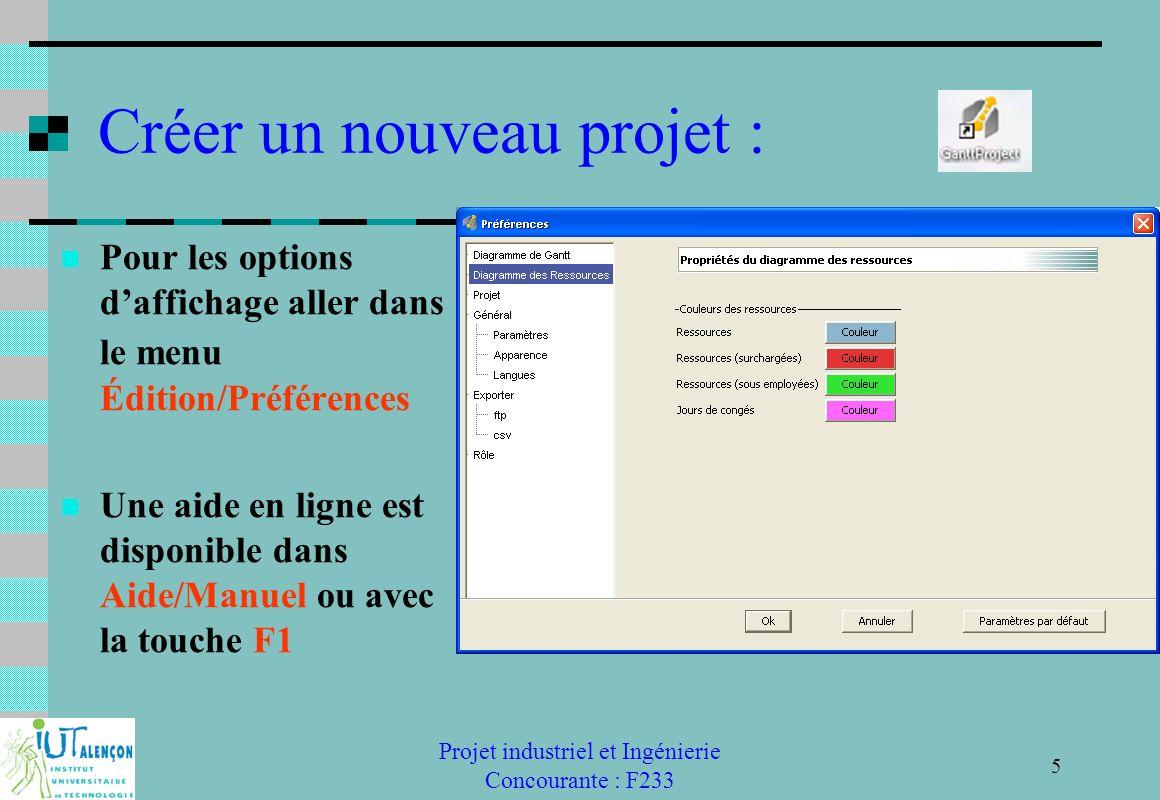 Projet industriel et Ingénierie Concourante : F233 5 Créer un nouveau projet : Pour les options daffichage aller dans le menu Édition/Préférences Une