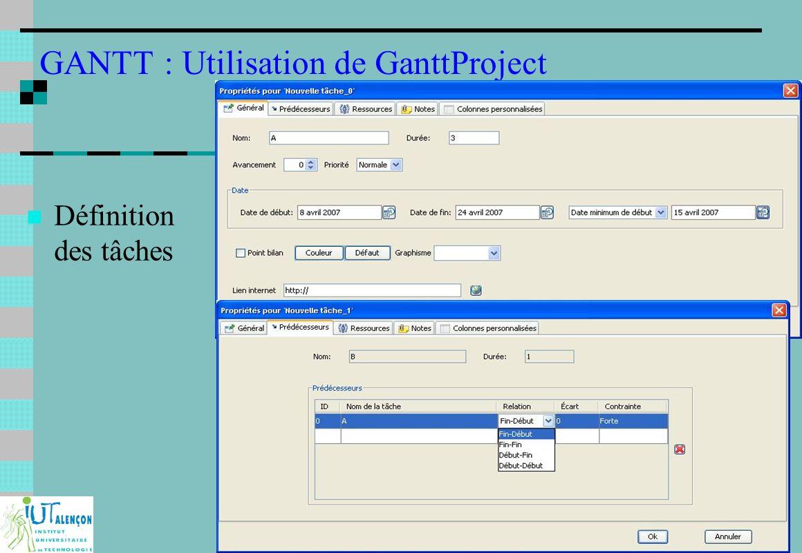 Projet industriel et Ingénierie Concourante : F233 7 GANTT : Utilisation de GanttProject Définition des tâches
